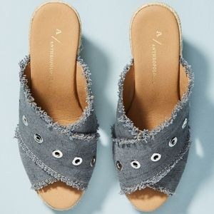 Anthropologie Grommet Wedge Sandals New 8.5